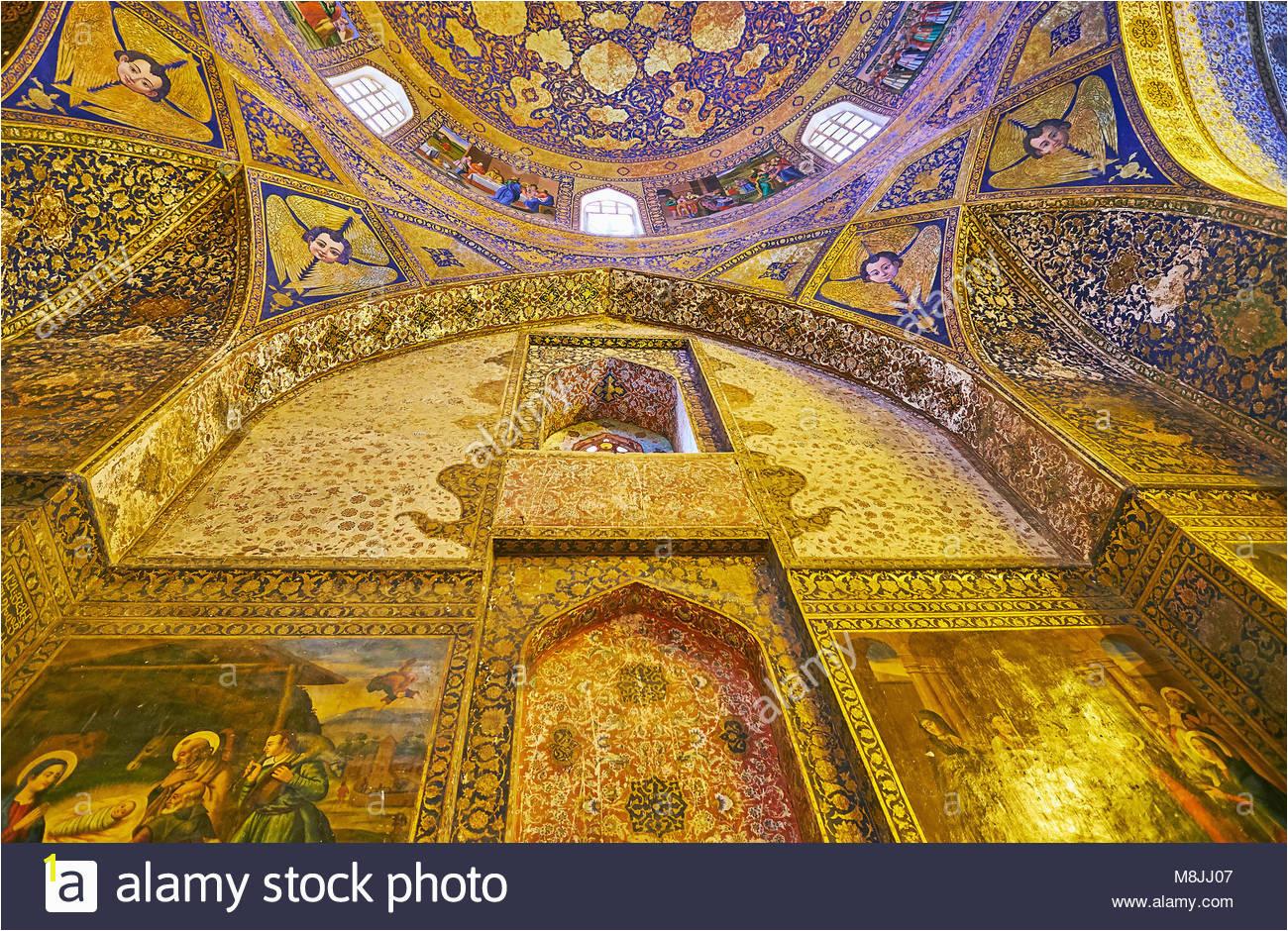 ISFAHAN IRAN OCTOBER 20 2017 The wall of Armenian Orthodox Bethlehem Church