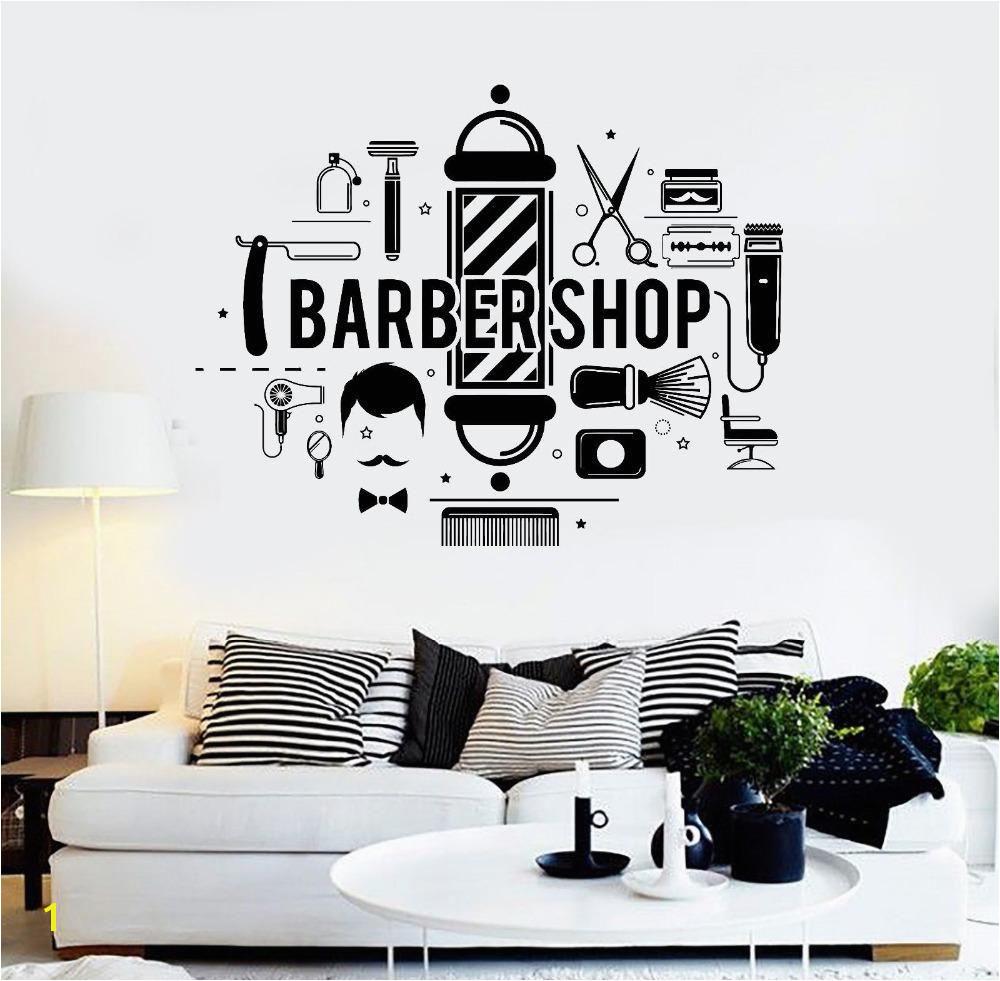 Barbershop Words Wall Decals Living Room