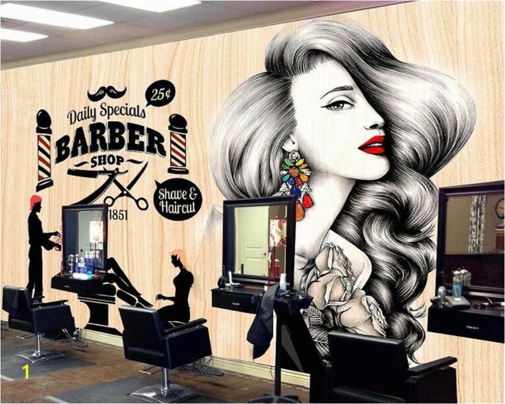 Beibehang Custom Wallpaper Hairdressing Salon Hair Wall Barber Shop Vintage Makeup Hair shop decoration 3d wallpaper mural
