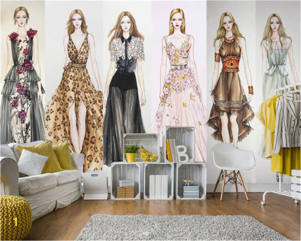 Beibehang Custom wallpaper mural fashion girl clothes shop barber shop background decoration papel de parede 3d wallpaper tapety