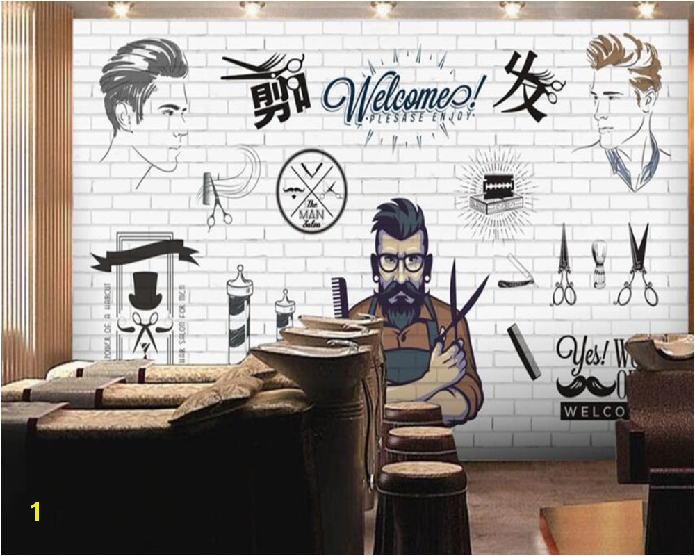 Customized European 3D large creative concrete wall hand painted mural Barber shop hair salon Background wall paper beibehang in Wallpapers from Home