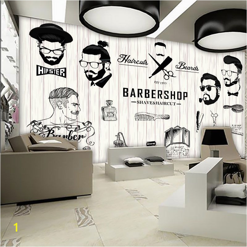 Barber Shop Wall Murals Free Shipping 3d Beauty Barber Mural Salon Barber Shop Fashion