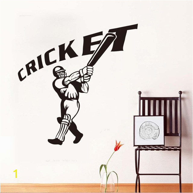 Baseball Player Wall Sticker Cricket Quote Removable 3D Poster Waterproof Wall Decals GYM Sport Mural For Kids Room Home Decor