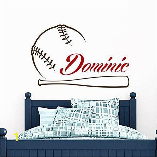 Baseball Name Wall Decal Boy Custom Personalized Boys Name Decor Vinyl Decal Baseball Kids Teens Boys