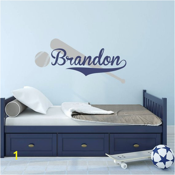 Baseball Wall Decal with Personalized Name Boys Name Decal Sports Themed Room Decor Custom Basebal