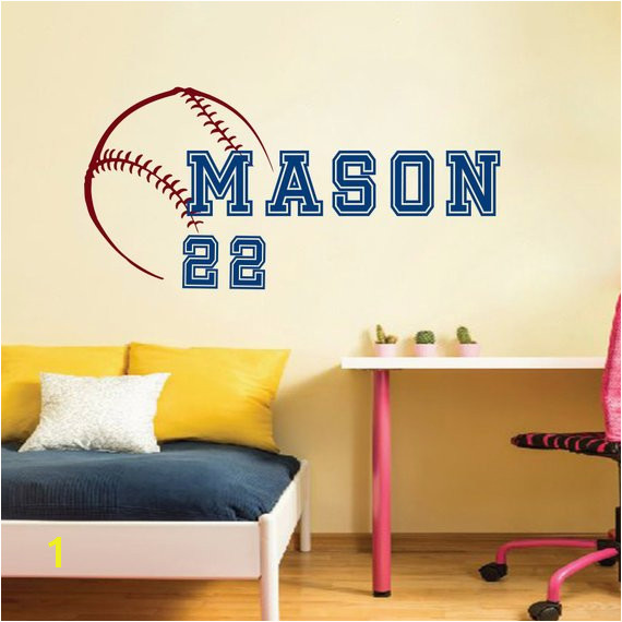 Wall Decal Vinyl Sticker Sport Baseball Ball Bat Game Team Monogram Boy Personalized Name Baby Logo