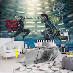size wallpaper mural for boy s bedroom Thor Ragnarog & Hulk fight wall decoration ideas