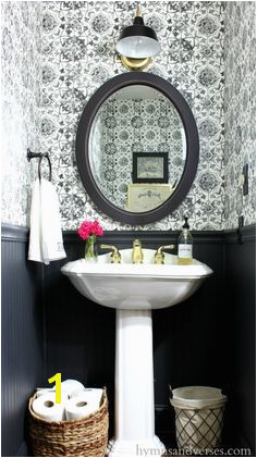 Black and White Tile Wallpaper Powder Room