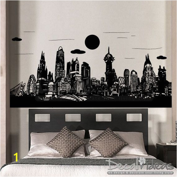 Gotham City Batman Skyline City Buildings superhero boysroomidea boysroomdecal wallpaper wallmural gothamcity cityskyline wallmural superman