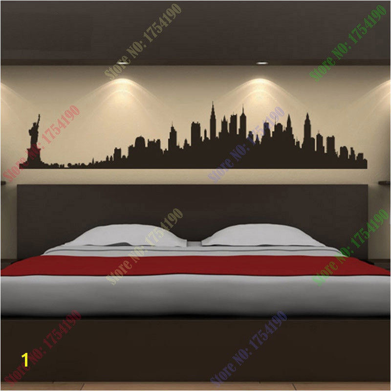 New York City Skyline Wall Stickers City Silhouette Buildings Art Decals Mural DIY Wallpaper for Room Decal 73 14cm in Wall Stickers from Home & Garden on