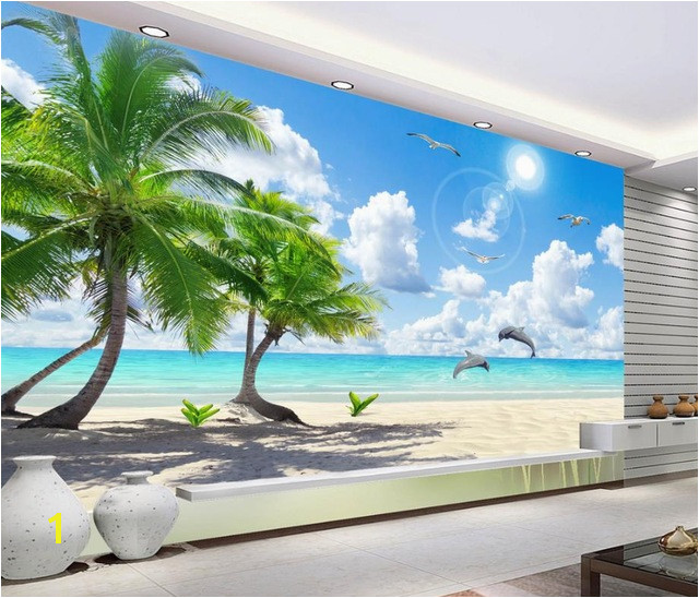 customize HD Coconut Tree wall mural wallpaper 3d wallpaper for living room naturals Beach Aegean Dolphins Background wall