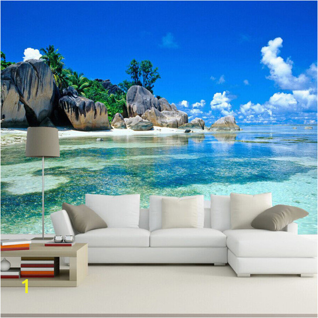 Beach Murals for Bedrooms Custom Mural Wallpaper 3d Ocean Sea Beach Background Non Woven