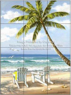 Backsplash designs Beach Scene tiles Hidden Beach SK Tile Mural Belle Image