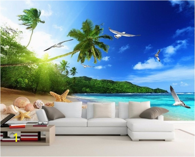 Cool Modern Printing Wallpaper beach landscape Wallpapers For Living room HD 3D seaside scenery Bedroom Murals Wallpaper