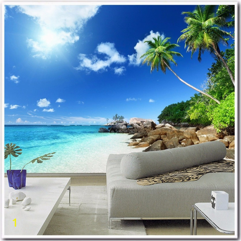 Beach Wall Murals Cheap Custom 3d Poster Wallpaper Beach Scenery Living Room Bedroom Tv