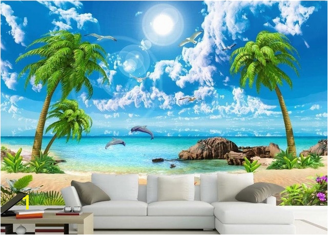 3d wall murals wallpaper custom 3d photo Sea coconut beach wallpaper angels wall papers home decor 3d stereoscopic wallpaper