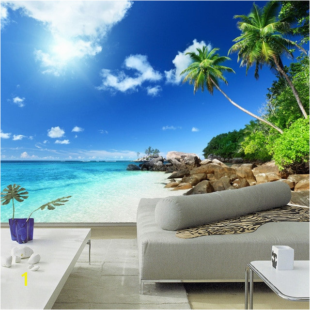 Custom 3D Poster Wallpaper Beach Scenery Living Room Bedroom TV Background Wall Mural Wallpaper Decor Roll Blue Sky White Clouds