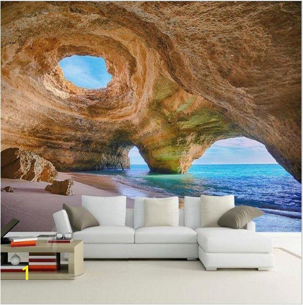 Custom 3D Beach Wallpaper Reef Cave Scene Wall Mural