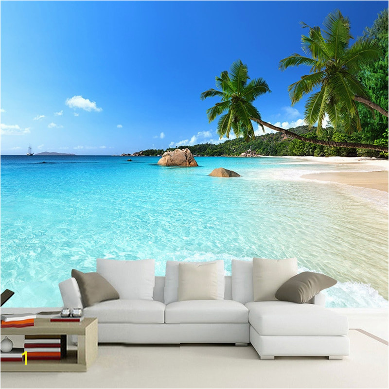 Custom 3D Wallpaper Seascape Beach Palm Wall Covering Mural Roll For Living Room Bedroom Background