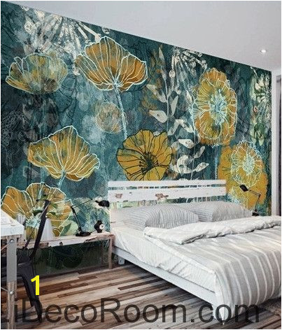 Fantasy fresh blue background abstract floral pattern gesang flower oil painting effect wall art wall decor mural wallpaper wall IDCWP