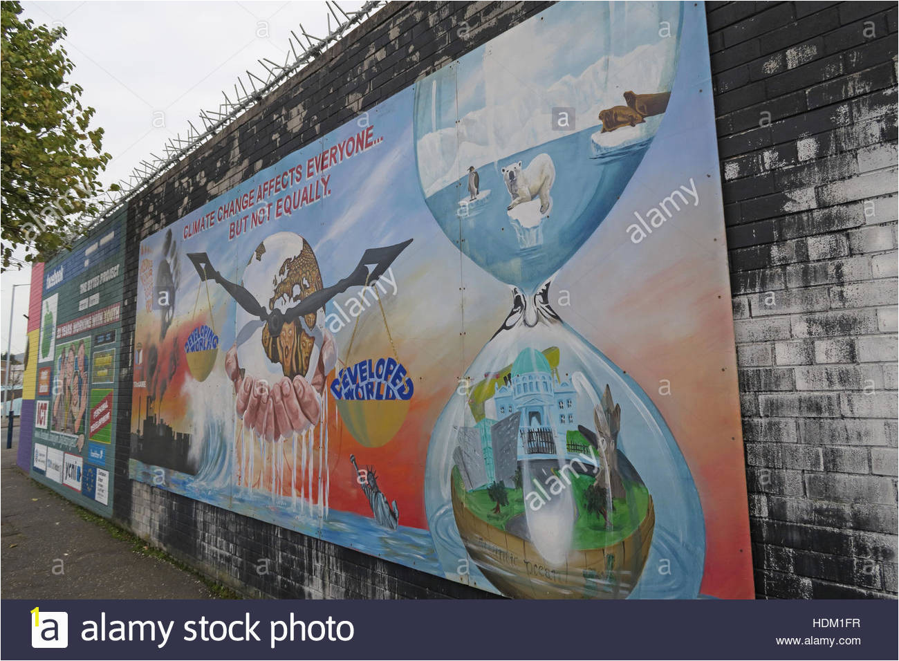 Belfast Falls Rd Peace Wall Mural Climate Change Stock Image