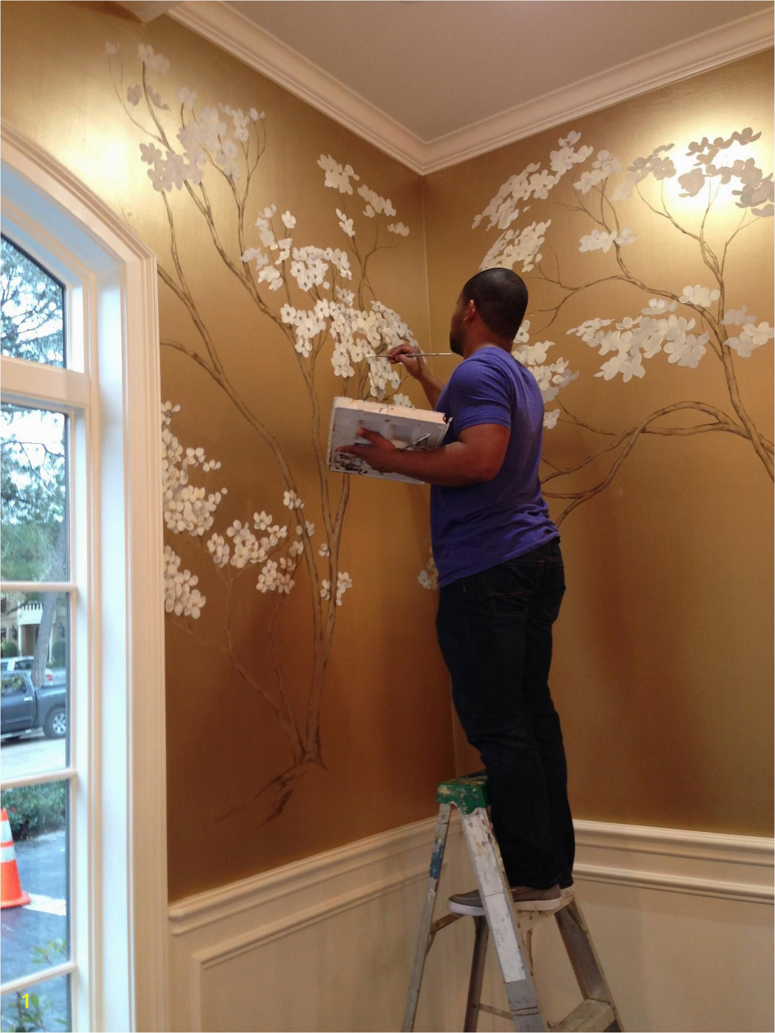 hand painted cherry blossoms on metallic gold wall More
