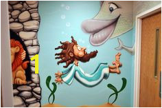 We incorporate humor and whimsy in our cartoon Bible story murals – not in an irreverent