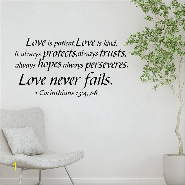 1 Cor 13 Song of Love Is Patient Bible Verse Vinyl Wall Sticker Decals Love God Love Life Quote Art Decor Living Room Bedroom