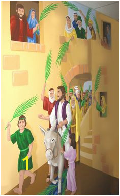 Palm Sunday – A Bible Story Mural Jesus is Lord A Worshipping