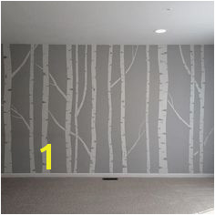 Hand painted birch tree wall mural made by taping off the trunks and branches