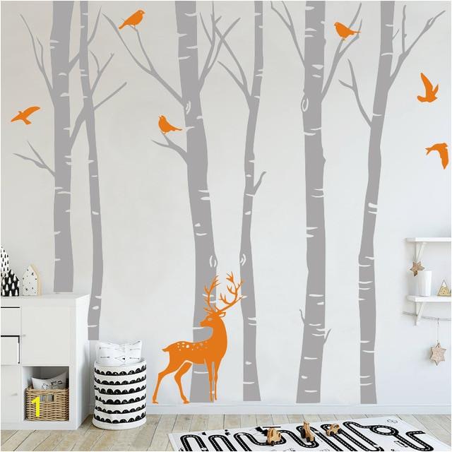 Birch Tree Vinyl Wall Sticker Wall Decal Nature Birds Deer in Winter Nursery Woodland Forest Art Stickers Kids Room Home Decor