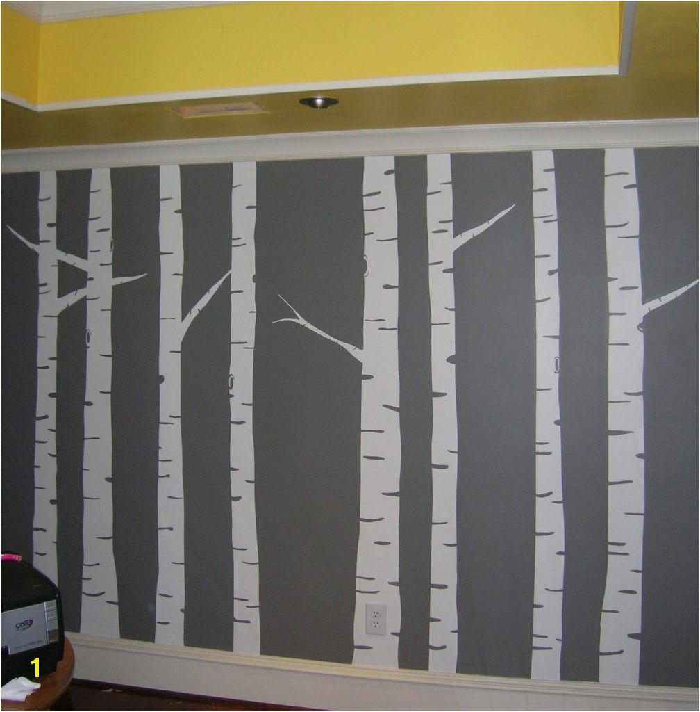 Birch Tree Wall Mural Diy Diy Painted Birch Tree Wall