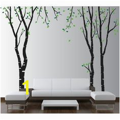 Wall Birch Tree Decal Forest Kids Vinyl Sticker Removable with Tree Stencil For Wall