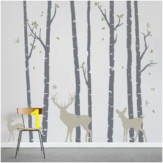 Add a little nature to your decor Birch Trees Forest with Deer Wall Decal Birch