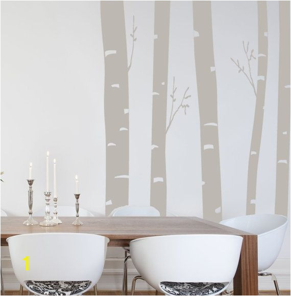 Grey birch tree decals for living room accent wall