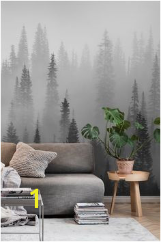 Misty forest black and white wall mural from happywall wallmural wallpaper grey