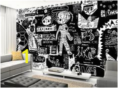 Graffiti Black and White wall mural living room preview
