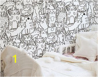 Doodle cats pattern Black and white wallpaper for kids room Funny wall mural Self adhesive Removable Reusable 89