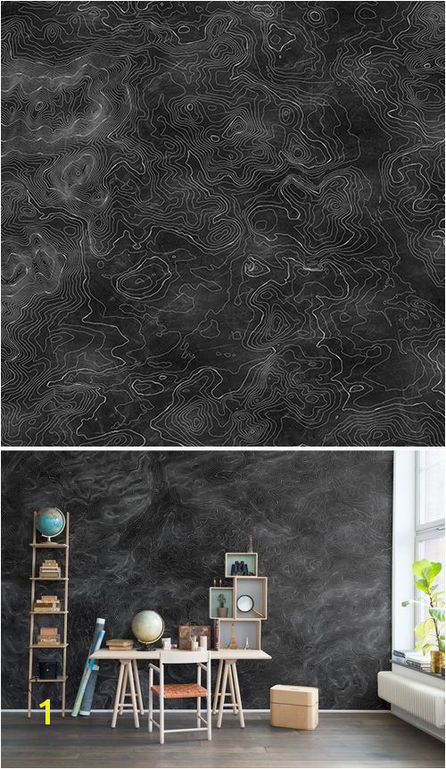 WALL MURAL WALLPAPER BLACK LINES WHITE ELEVATION GRAPHICALLY MAP BLACKBOARD