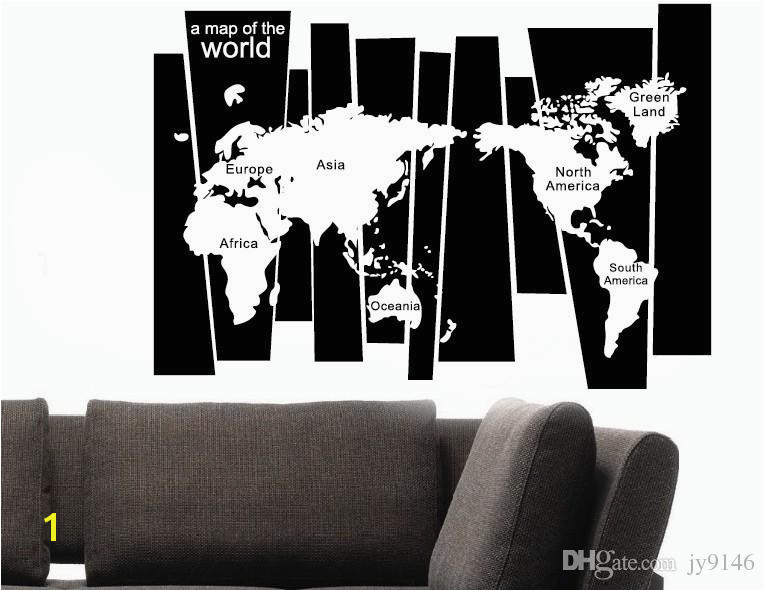 105 75cm Map Wall Sticker Murals PVC A Map World Lettered Wall Art Decals For Living Room Study And fice Decoration Removable Black Wall Stickers