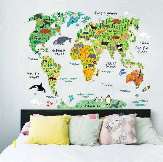 Learn the world by its animals with this Kids World Map from Rocky Mountain Decals So many cute creatures