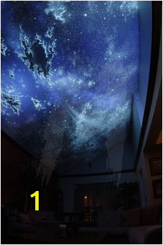 invisible night sky living room black light This mural is black light activated and pletely