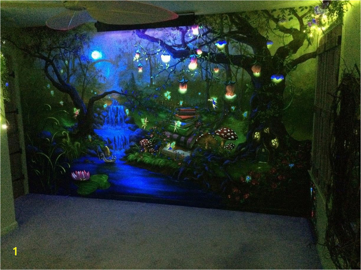Blacklight Murals Enchanted forest Bedroom Mural Under the Blacklight at Night