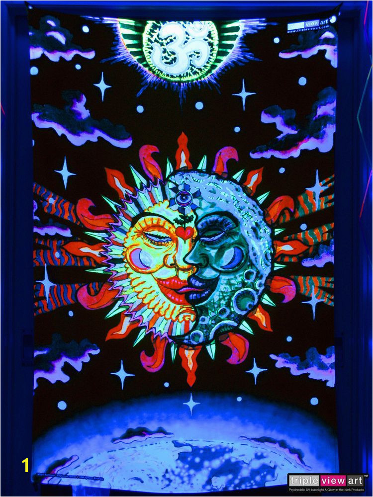 Psychedelic Om Sun Moon UV Tapestry Fluorescent Backdrop Wall Hanging Party Deco TripleviewArt Psychedelic