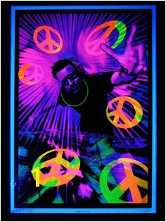 """UV Schwarzlicht Poster """"DJ Peace"""" blacklight schwarzlicht wallpaper neon"""