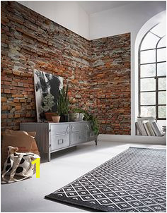 Brewster Home Fashions Komar Bricklane Wall Mural Red Orange Brick