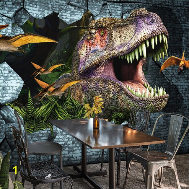 3D Wallpaper Animal Dinosaur Broken Wall Mural Restaurant Cafe Bedroom Creative Decor Non Woven Wall Papers Murales De Pared 3D