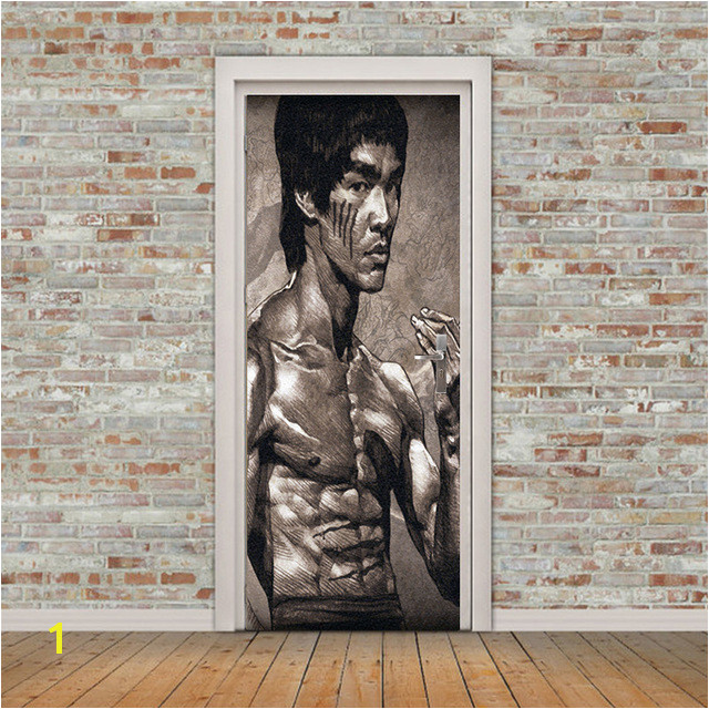 Free shipping Bruce Lee Door Wall Stickers DIY Mural Bedroom Home Decor Poster PVC Waterproof Door