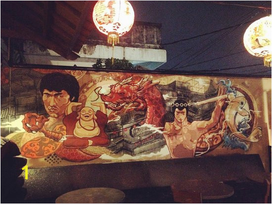 Happy Chappy Chinese Wall mural of the great one Bruce Lee