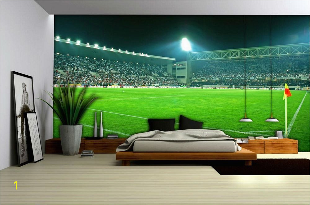 A fantastic photorealistic Football Stadium Wallpaper Mural that will make it seem like you re inside a modern football stadium